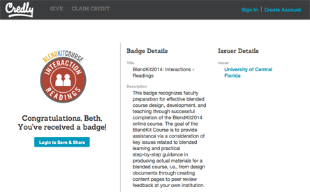 Screen capture of Credly page where you accept your badge.