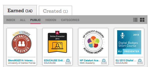 Screen capture of one person's publicly viewable badges in Credly.