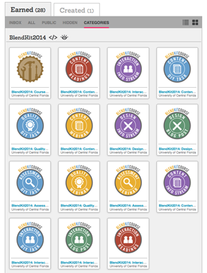 Screen capture of Credly containing 14 badges plus a course completion badge.